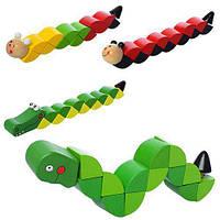 Дереянная игрушка Змейка MD 1194, 4вида, в кульке, 20-2-3см