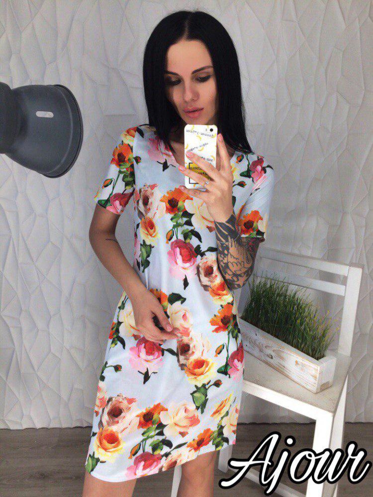 Летнее  платье с цветочным принтом / 3 цвета арт 5208-558