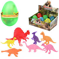 Яйцо 8807, 10см, динозавры 7шт, от 4см, 6шт(микс видов)в дисплее, 27-18-12см