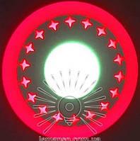 """LED світильник 3+3W """"Зірки"""" з червоним підсвічуванням / LM 535 коло, фото 1"""