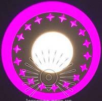 """LED светильник 3+3W """"Звезды"""" с розовой подсветкой / LM 535 круг, фото 1"""