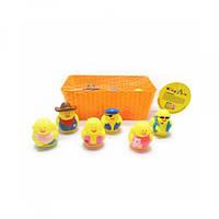 Животное 32865, для купания, цыпленок, 6шт, от6, 5см, брызгалка, в ящике, в сетке, 21-13-8см