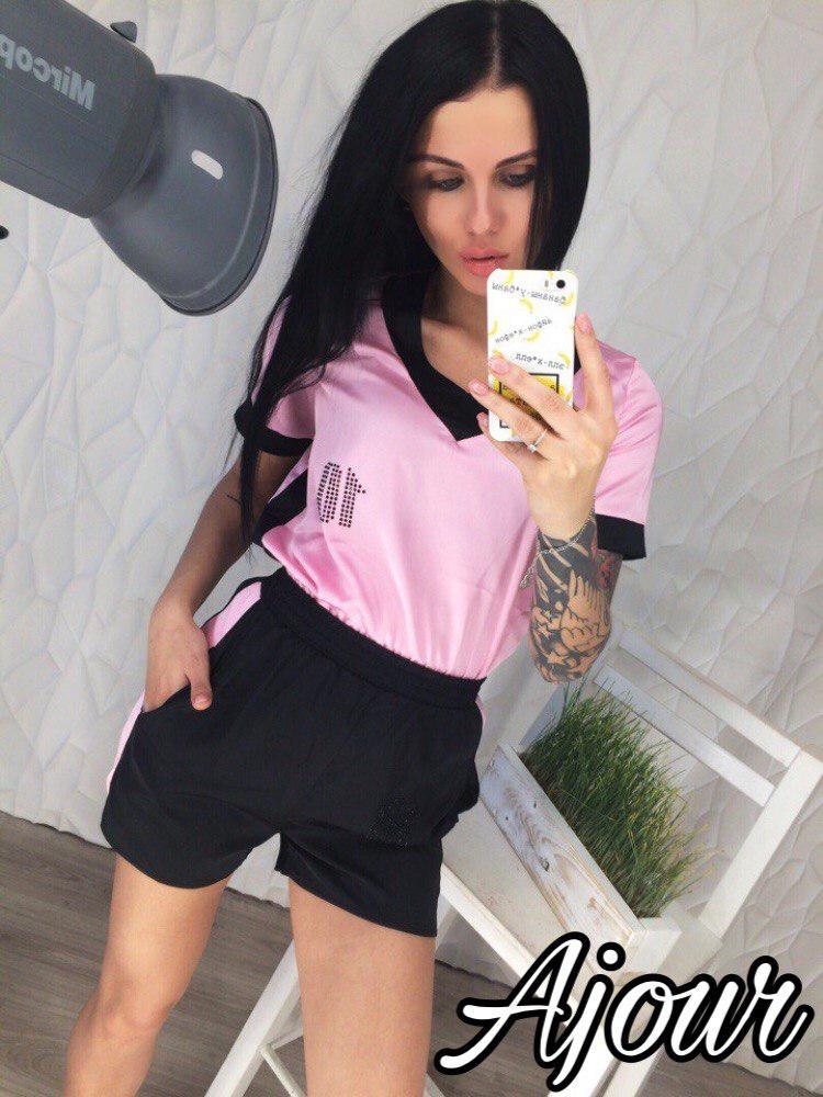 Шелковый комплект футболка и шорты / 2 цвета  арт 5213-558