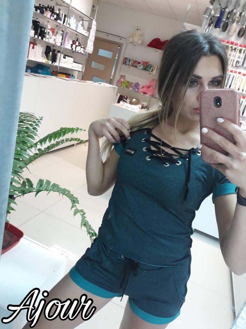 Костюм с шортами, на груди шнуровка / 3 цвета  арт 5214-558