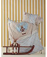 Комплект постельного белья для новорожденных с вышевкой Karaca Home Dear голубой