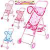 Коляска 881, для куклы, прогулочная, корзина, колеса 4шт 11см, 48-33-64см, в кульке, 60-32-7см