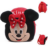 Детский мягкий плюшевый рюкзак для дошкольника Mini Mouse. Рюкзачок для девочки в садик Минни Маус