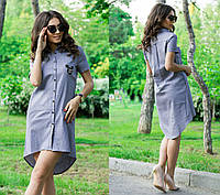 e5c16823d00 Серое летнее женское льняное платье-рубашка с коротким рукавом. Арт-4136 85