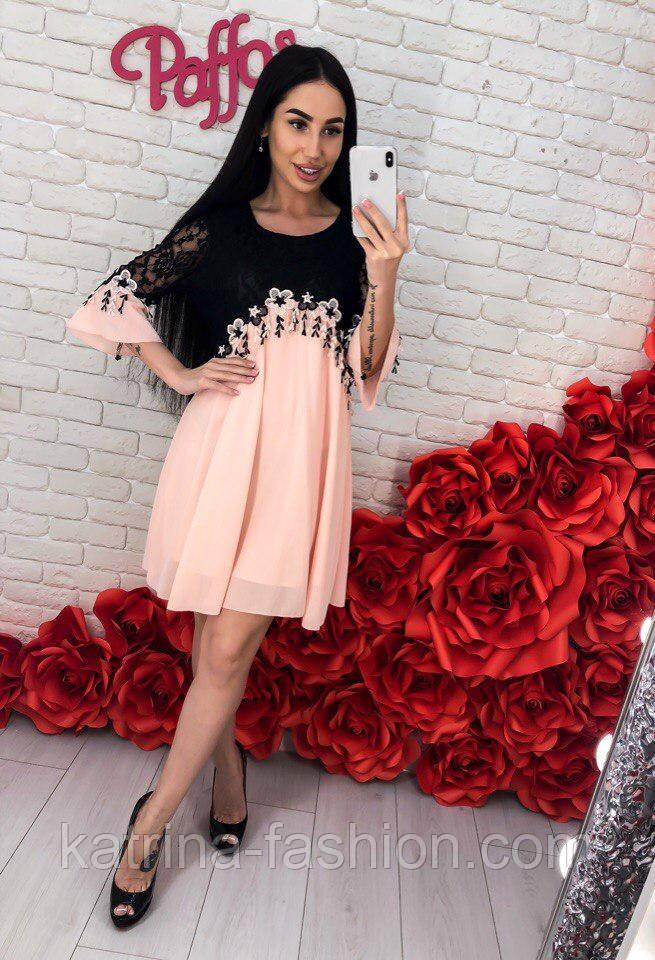 Женское шифоновое платье с кружевом (3 цвета)
