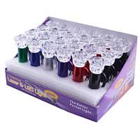Фонарь-брелок цветочек 014-2l, в упаковке 24 шт. разных цветов, 2 led-диода, без лазера, питание 3*lr1130