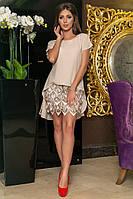 Женское коктейльное платье шифон + лапша из пайетки