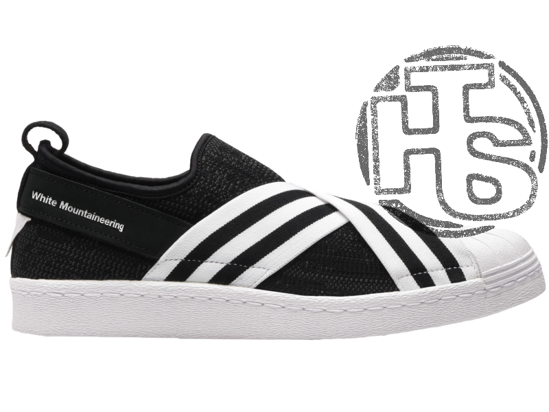 new concept b4581 6e6bc Женские слипоны Adidas White Mountaineering Superstar Slip-On Black/White  BY2880