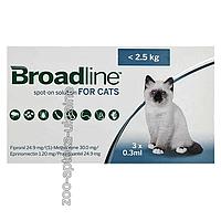 Капли на холку Бродлайн (Broadline) от блох и клещей для кошек до 2,5 кг (3*0,3 мл)