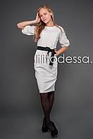Платье с рукавом-фонарик белый, фото 1