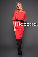 Платье с рукавом-фонарик красный, фото 1
