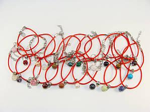 Браслеты красная нить с натуральными камнями (30шт/уп, все разные)