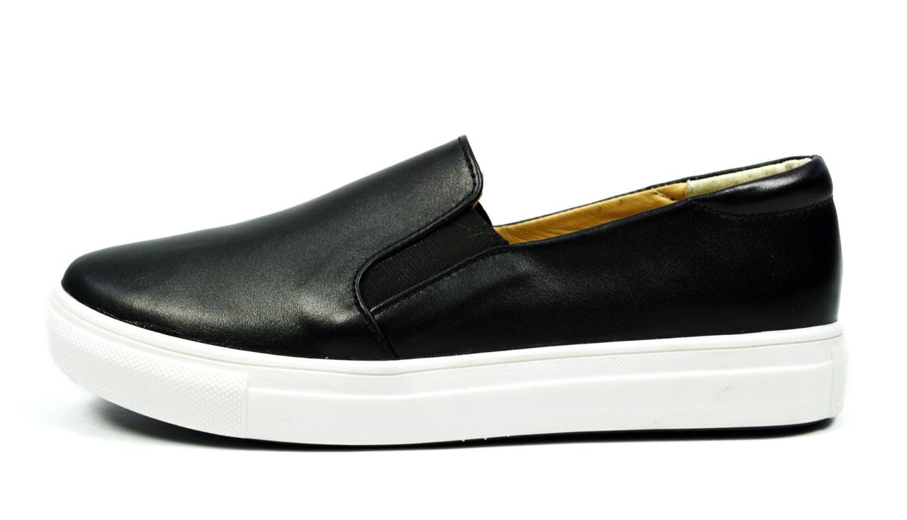 Черные классические слипоны женские кожаные Al.Kir Collection  ( новинка весна, осень, лето )