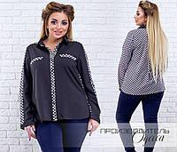 Черная женская шифоновая комбинированная батальная рубашка Шахматка с длинным рукавом.  Арт-4141/85