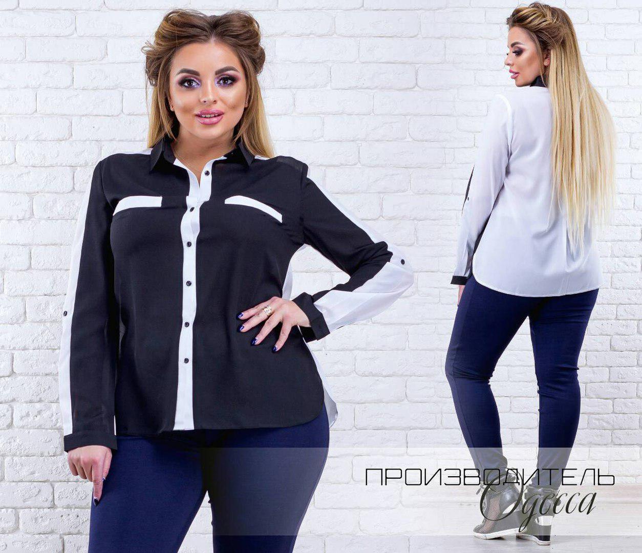 4e74c8ef070 Черно-белая женская шифоновая комбинированная батальная рубашка с длинным  рукавом. Арт-4141
