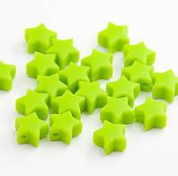 """Силиконовые бусины """"Звездочки"""" 14 мм зеленые, фото 1"""