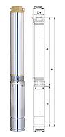 Насос для скважин центробежный 1,1кВт Н140(111)м - Q55(35)л/мин- Ø 96мм Aquatica 777124