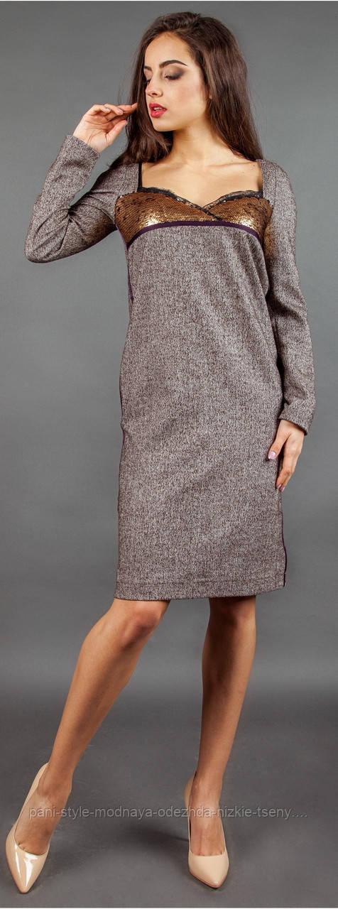 Сукня жіноча тепле з довгим рукавом шоколадного кольору, плаття вільного крою ошатне молодіжне