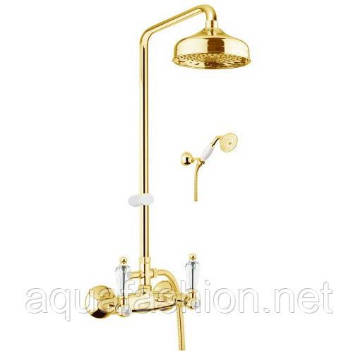 Золотий змішувач для ванни з ручками Сваровскі Fiore Gioielli Італія
