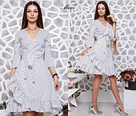 Платье легкое летнее до колена на запах в горошек