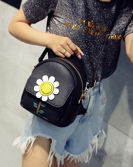 мини рюкзак женский чёрный с ромашкой
