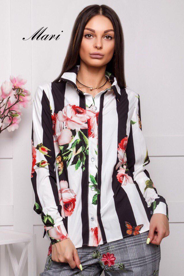 Рубашкас воротником на пуговицах в полоску с цветами