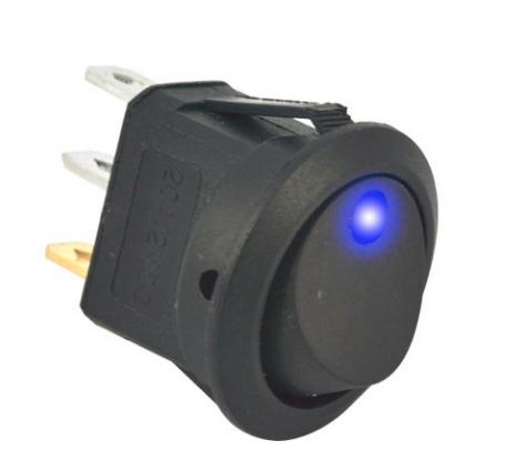 Переключатель клавишный КП-18 3 контакта, 2 положения с фиксацией и подсветкой 220В. Синий