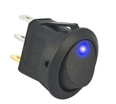 Переключатель клавишный КП-18 3 контакта, 2 положения с фиксацией и подсветкой 220В. Синий, фото 2