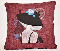 """Декоративная подушка с вышивкой """"Незнакомка"""""""