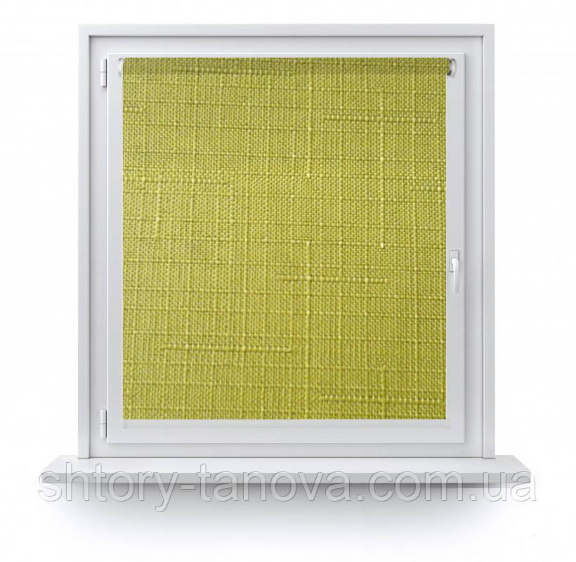 Рулонные шторы на заказ с тканью Лен 7383 зеленый - Интернет магазин штор Танова в Днепре