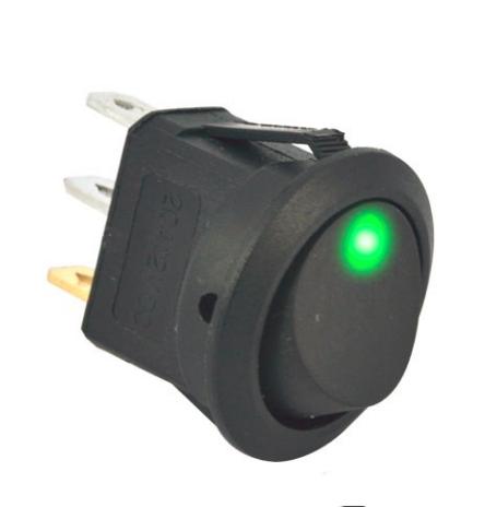 Переключатель клавишный КП-18 3 контакта, 2 положения с фиксацией и подсветкой 220В. Зелёный