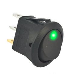 Переключатель клавишный КП-18 3 контакта, 2 положения с фиксацией и подсветкой 220В. Зелёный, фото 2