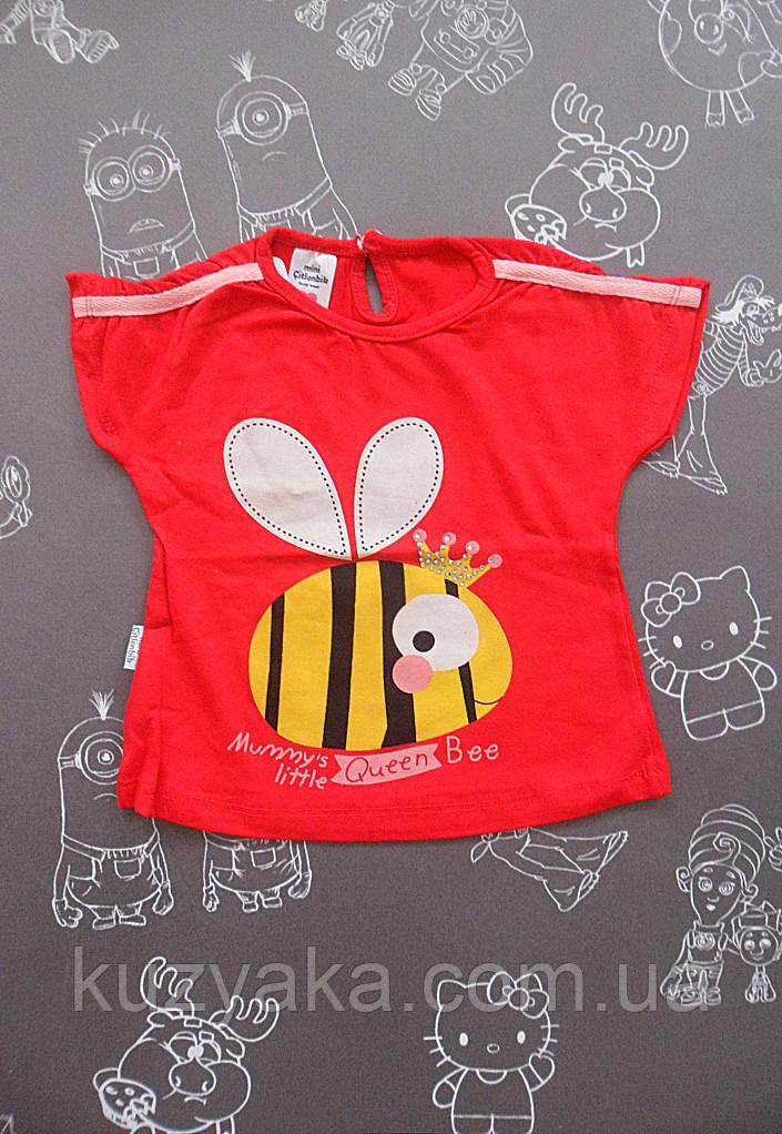 Детская летняя красная футболка Queen на девочку 74-80 см