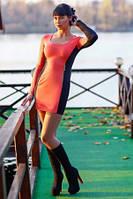 Платье облегающее французский трикотаж по фигуре, повседневное, красивое с молниями платье оранжевого цвета, фото 1