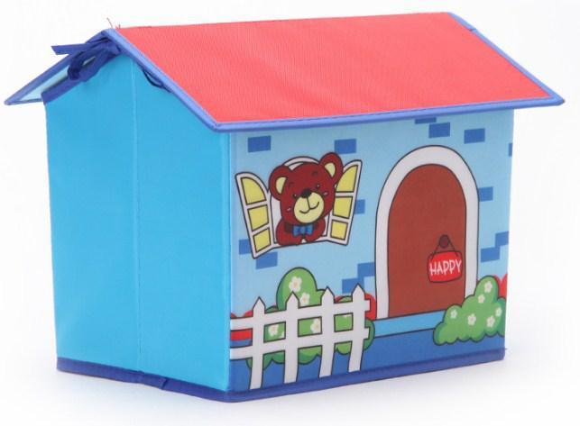 Складной короб Домик - органайзер для хранения игрушек Голубой