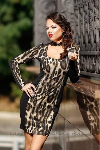Облягаюче плаття леопардове повсякденне, красиве по фігурі французький трикотаж