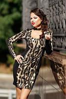 Облегающее платье леопардовое повседневное, красивое по фигуре французский трикотаж, фото 1