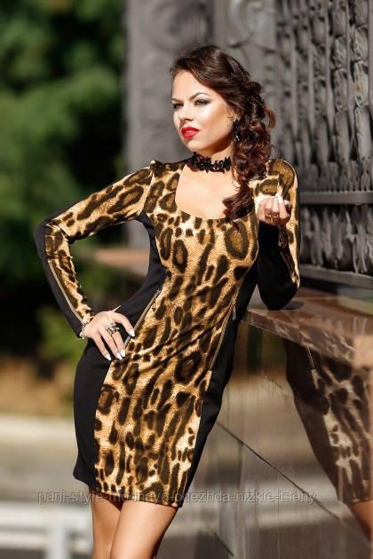 Чорне леопардове плаття, французький трикотаж, молодіжне, повсякденне, повсякденне по фігурі