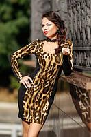Черное платье леопардовое французский трикотаж, молодежное, повседневное, по фигуре повседневное, фото 1