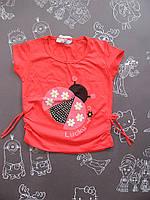 Детская летняя футболка Божья коровка для девочки на 1-4 года
