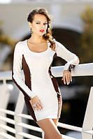 Облегающее женское платье французский трикотаж молодежное, повседневное, красивое белого цвета