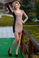 Платье облегающее французский трикотаж по фигуре, повседневное, красивое с молниями платье бежевого цвета, фото 1