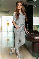 Женский костюм: штаны + блузка с открытыми плечами, люрекс