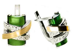 Серьги серебряные женские Оливия арт. 120 (улексит зеленый) упс
