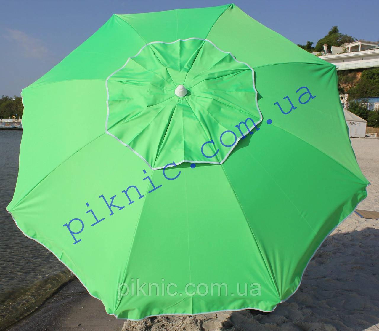 Пляжный зонт 2м клапан наклон Плотная ткань Тканевый чехол Зонтик для пляжа от солнца Салатовый 352