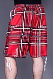 Чоловічі бриджі в клітинку (плащівка), червоного кольору, фото 3